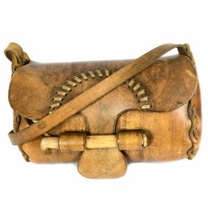Handbags - Handcrafted Leather Bag w/ Wooden Dowel Closure